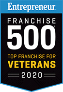 Entrepreneur's Franchise Top Rated for Veterans in 2020 badge