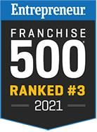 Entrepreneur's Franchise 500 Ranked #3 in 2021 badge