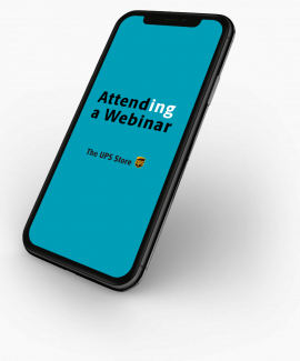 a cell phone with Attend a Webinar messaging
